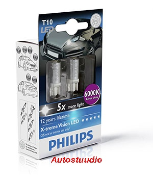 LED lamp Philips T10 W5W X-Treme Vision 6000K